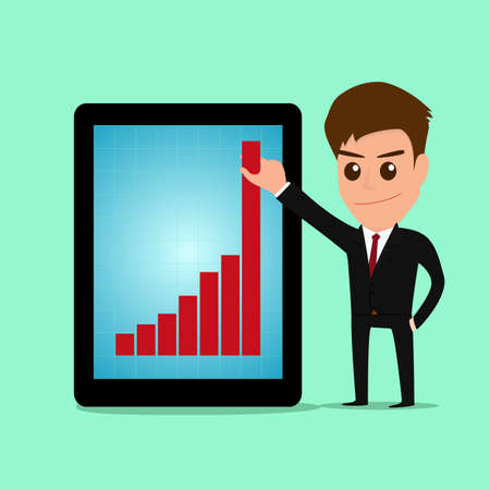 smart goals: Businessman holding graph to growing up from tablet screen. vector Illustration