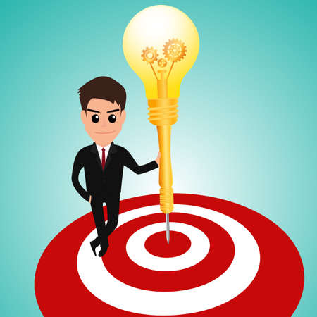 whit: Businessman in target area whit dart lightbulb  Vector Illustration