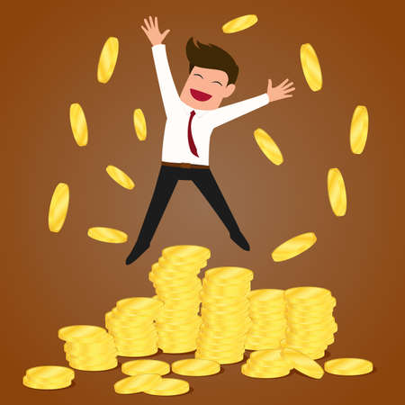 Successful businessman jumping on gold coins vector Illustration Иллюстрация