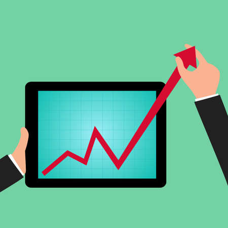 growing up: Businessman holding graph to growing up from tablet screen. vector Illustration