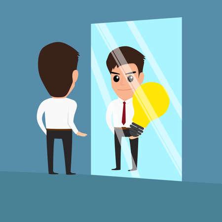 businessman see idea in the mirror.Vector Illustration Illustration