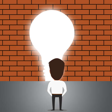 trough: Businessman breaking trough a wall with idea.vectorIllustration