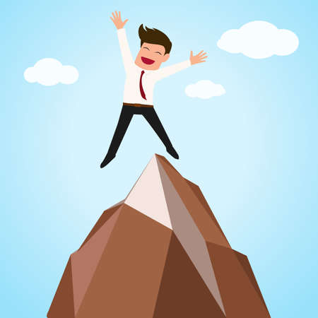 happy businessman: Happy businessman successful jumping on top of mountain.vector illustration