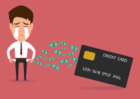 Businessman with credit card  debt concept.vector illustration Vettoriali
