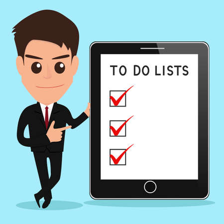 appointments: Businessman shows to do lists on tablet screen.vector illustration. Illustration