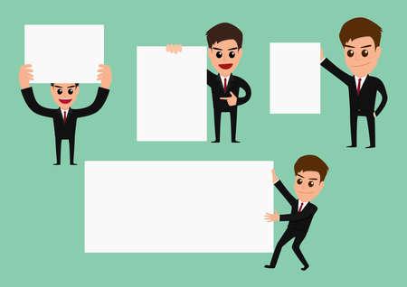 Set of businessman holding blank paper Vector Illustration Vector
