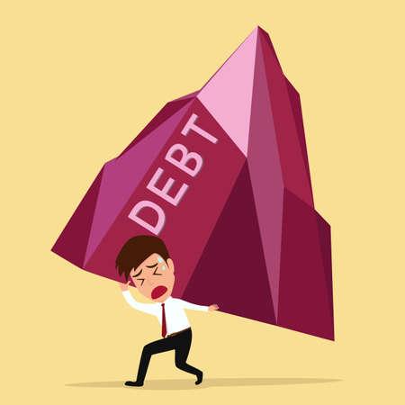owe: Bankruptcy concept  businessman bearing big debt Vector Illustration