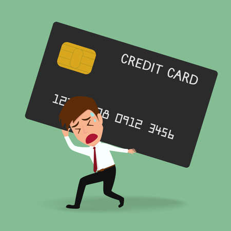 Zakenman dragende creditcard. Schuld concept Vector Illustratie Stock Illustratie