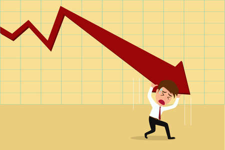Business failure.Down trend graph and  try to rebound  Vector Illustration