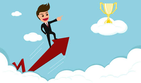 Success concept.businessman rides red arrow to trophy on cloud.vector illustration.