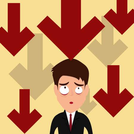 Business failure. Down trend graph make businessman worried. Vector Illustration