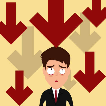 Business failure. Down trend graph make businessman worried. Vector Illustration