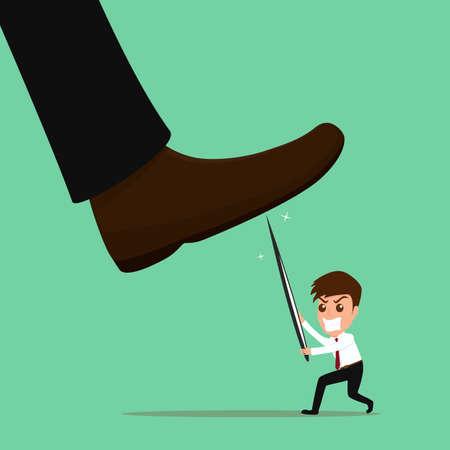 Underdog businessman fighting against repression and injustice.vector illustration. Stock Illustratie