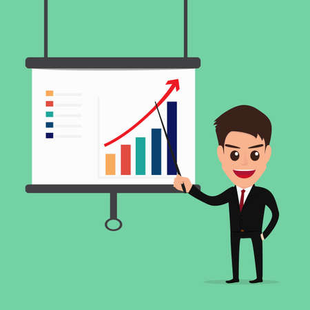 Businessman Presenting and pointing business growth chart . Vector Illustration
