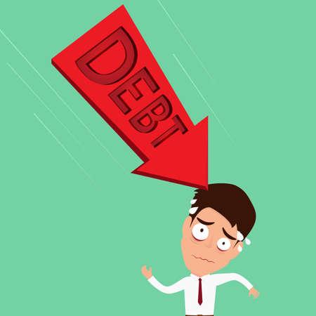 difficult mission: Businessman worried about big debt.Debt concept  Vector Illustration Illustration