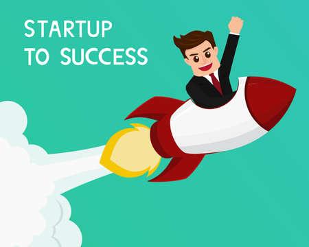 start up: Businessman flying on a rocket start up to success  Vector Illustration