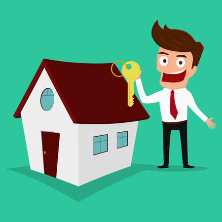 Businessman holding the key of a new home. Real estate concept. Cartoon Vector Illustration