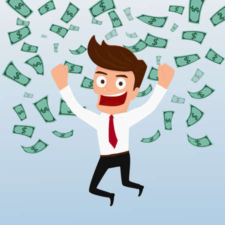 Businessman happy with money flowing in the air. Cartoon Vector Illustration. Stock Illustratie