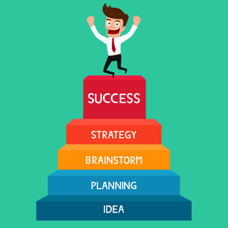 success: Hombre de negocios va hasta el éxito escalera del éxito. Ilustración de la historieta del vector.