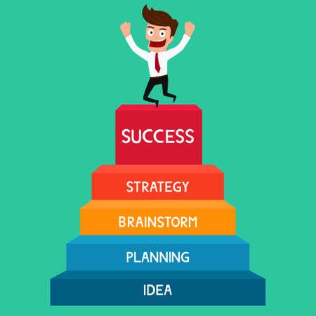 Úspěch: Podnikatel jít nahoru k úspěchu schodiště k úspěchu. Cartoon vektorové ilustrace. Ilustrace