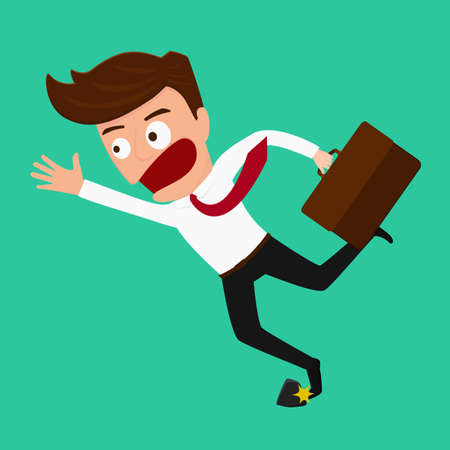 Businessman stumbling on rock Vector Illustration