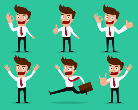 Set of businessman characters poses .Cartoon vector illustration.