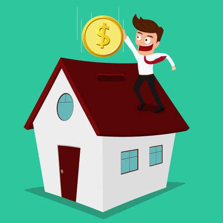 Hombre de negocios que pone la moneda dentro de la casa de inversiones en bienes raíces Ilustración de la historieta del vector. Ilustración de vector