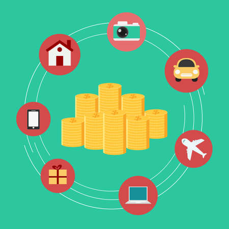 plane vector: Set icons shopping . Money concept. Vector Illustration.