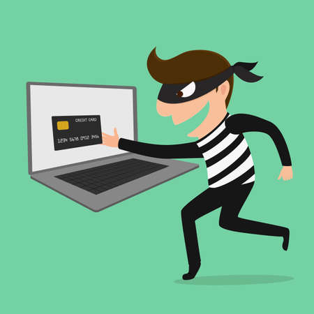 bank robber: Thief Hacker steal your data credit card and money  Vector Illustration