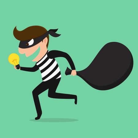 Piracy Thief stealing idea . Vector Illustration Stock Illustratie