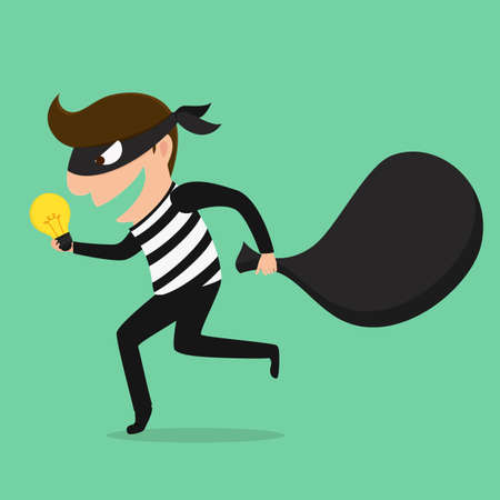 Piracy Thief stealing idea . Vector Illustration Illustration