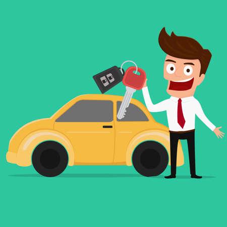 Businessman holding the key of a new car Cartoon Vector Illustration.