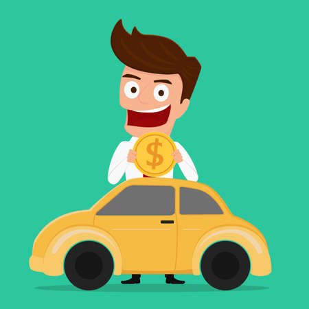 Businessman putting coin inside the car investing money in the car Investment concept. Cartoon Vector Illustration. Иллюстрация