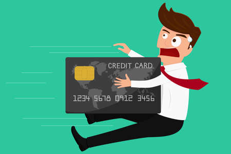 Debt concept. Credit card attack businessman. Cartoon Vector Illustration