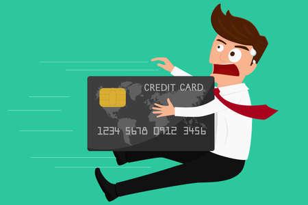 Debt concept. Credit card attack businessman. Cartoon Vector Illustration