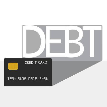 subordinate: Debt concept . Credit card debt shadow. Vector Illustration.