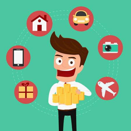 Set icônes du shopping. Money concept. Businessman holding argent. Cartoon Vector Illustration. Banque d'images - 40214489