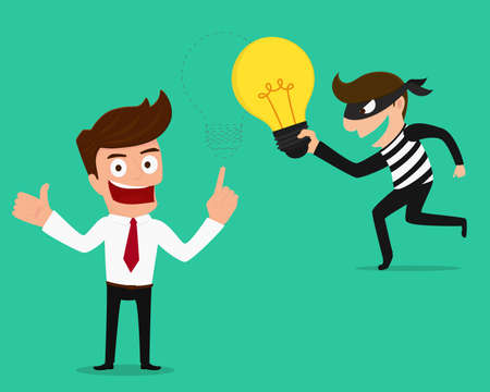 stealing: Piracy Thief stealing idea from businessman. Cartoon Vector Illustration Illustration