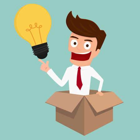 Businessman thinks out of the box and get idea. Cartoon Vector Illustration