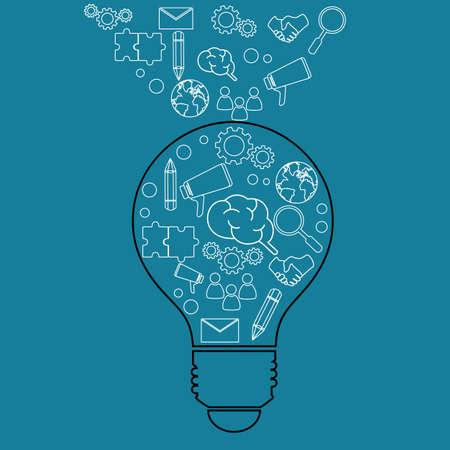 lightbulb idea: Creative lightbulb idea and business icons. Vector Illustration Illustration