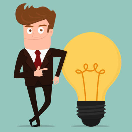 big idea: Businessman with big idea. Cartoon Vector Illustration.