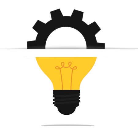 Light bulb gear idea concept . Cartoon Vector Illustration. Illustration
