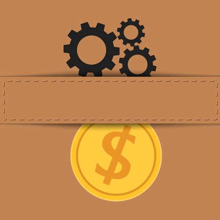 gear symbol: Material exchange to money. Vector Illustration.