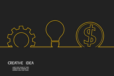 Creative idea concept make money. Vector Illustration. Иллюстрация