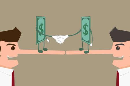 tempt: Businessman lie for money. Cartoon Vector Illustration .