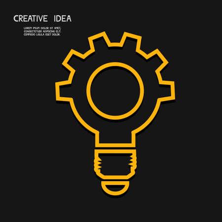 light bulb: Creative light bulb with gear concept  idea concept. Vector Illustration