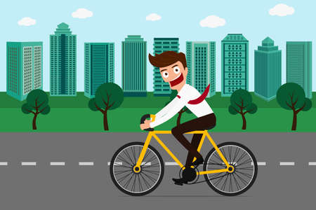 exercise bike: Businessman riding a bicycle in green city . Cartoon Vector Illustration.