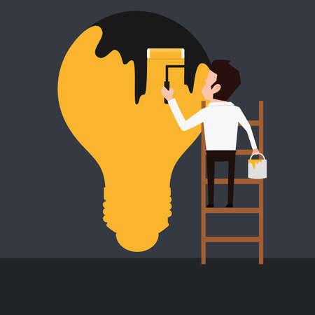 Businessman painting dark light bulb . Cartoon Vector Illustration. Vector