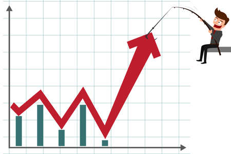 Business man pulling graph to going up growth trend. Cartoon Vector Illustration. Stock Illustratie
