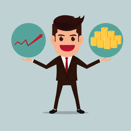 Business man with graph and money stacks. Cartoon Vector Illustration.